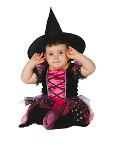 Hexen Kostüm rosa für Babys